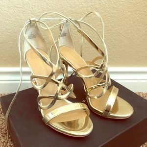 Beautiful gold brand new strapy high heel sandals